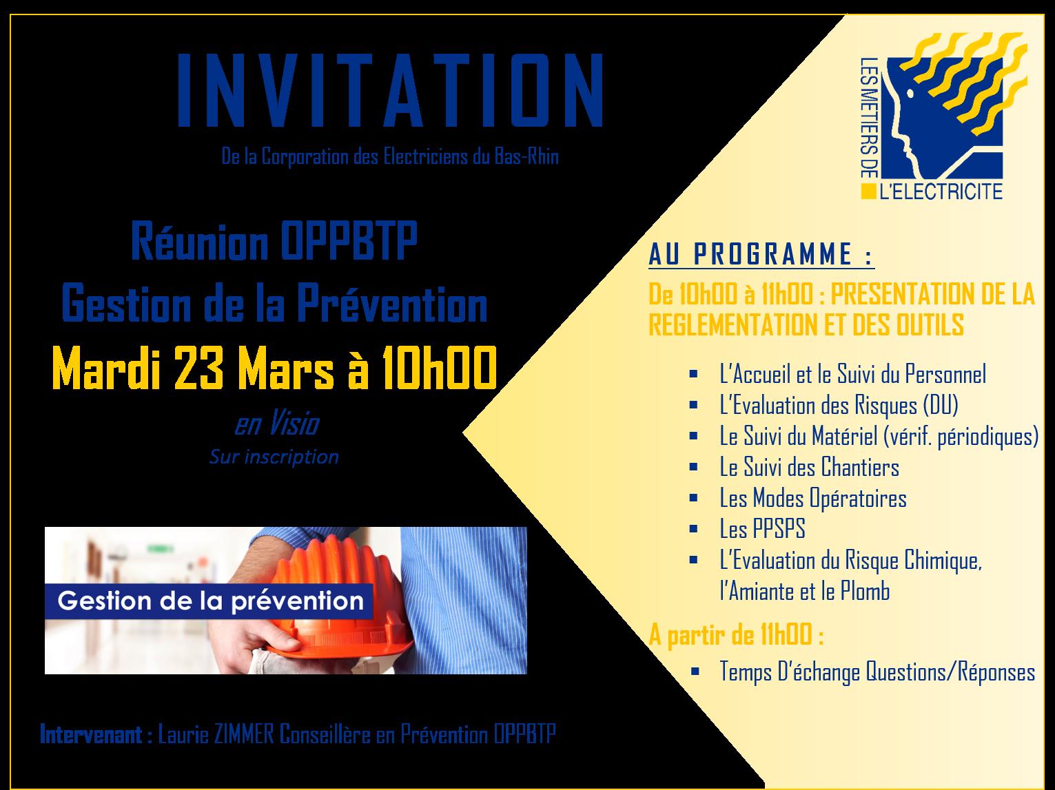 invitation OPPBTP Prevention